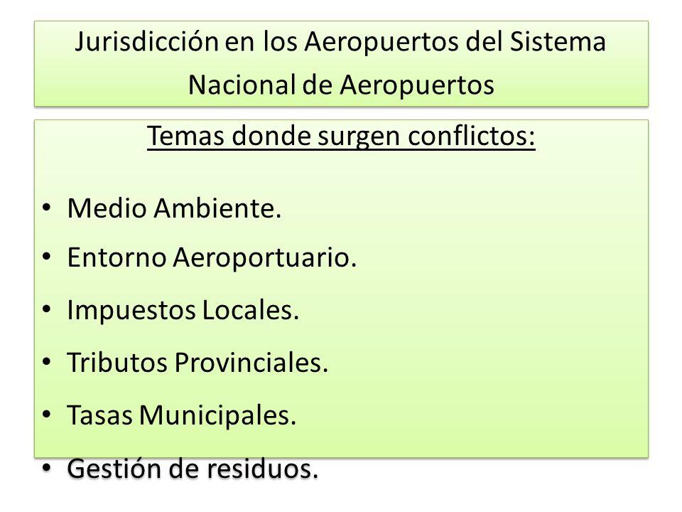 Jurisdicción en los Aeropuertos del Sistema Nacional de Aeropuertos Temas donde surgen conflictos: Medio Ambiente.