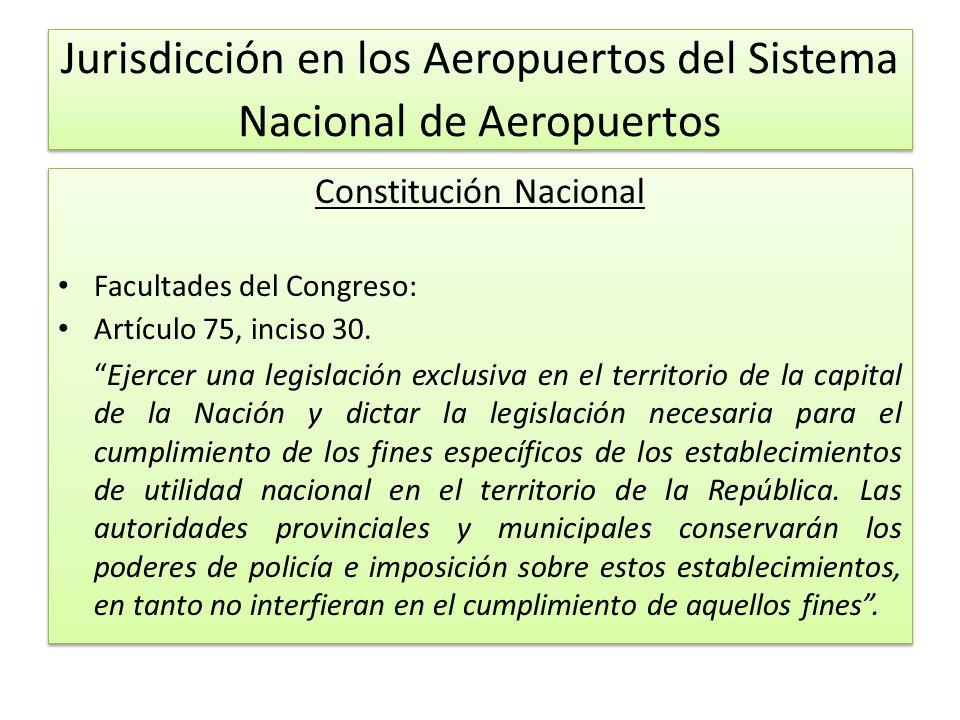 Jurisdicción en los Aeropuertos del Sistema Nacional de Aeropuertos Constitución Nacional Facultades del Congreso: Artículo 75, inciso 30.