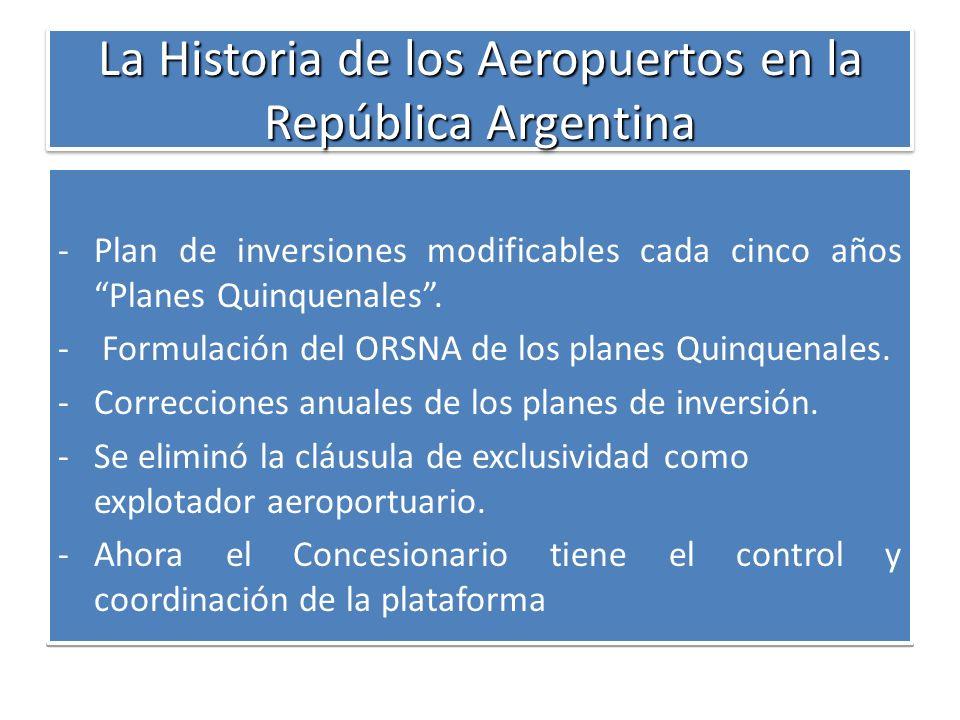 La Historia de los Aeropuertos en la República Argentina -Plan de inversiones modificables cada cinco años Planes Quinquenales. - Formulación del ORSN