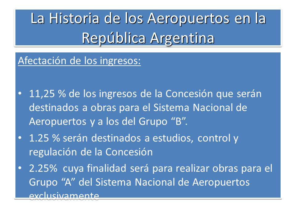 La Historia de los Aeropuertos en la República Argentina Afectación de los ingresos: 11,25 % de los ingresos de la Concesión que serán destinados a ob