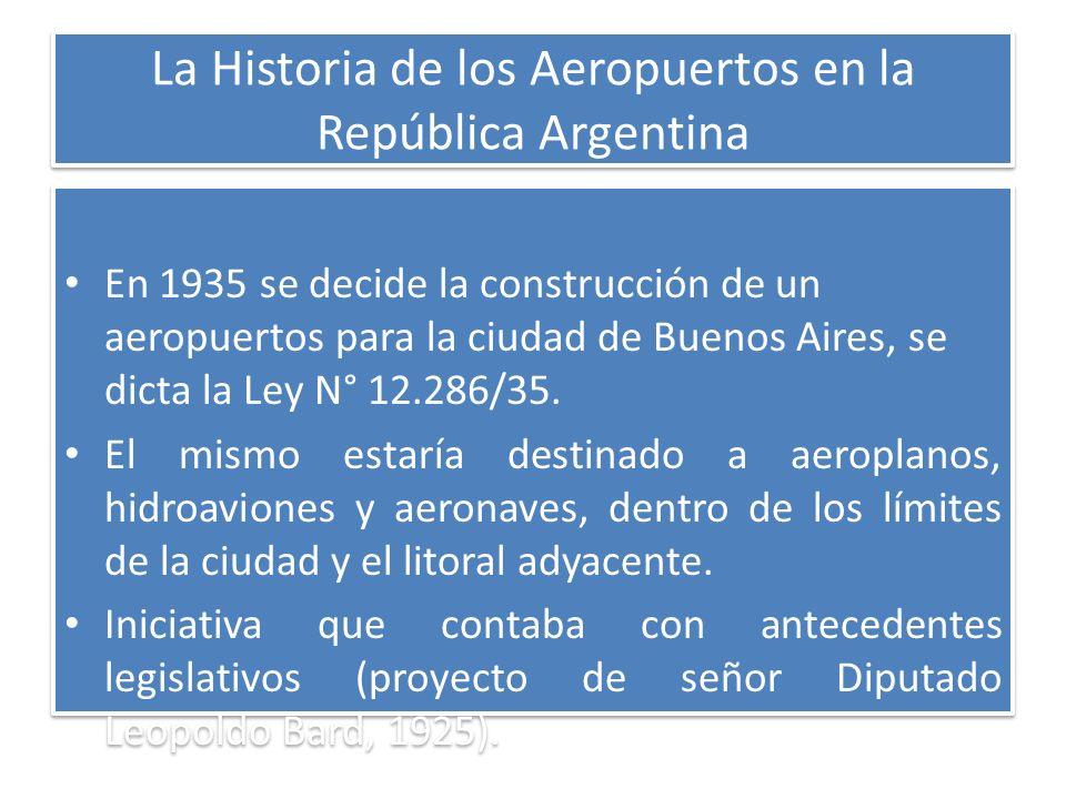 La Historia de los Aeropuertos en la República Argentina En 1935 se decide la construcción de un aeropuertos para la ciudad de Buenos Aires, se dicta