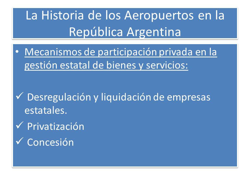 La Historia de los Aeropuertos en la República Argentina Mecanismos de participación privada en la gestión estatal de bienes y servicios: Desregulació