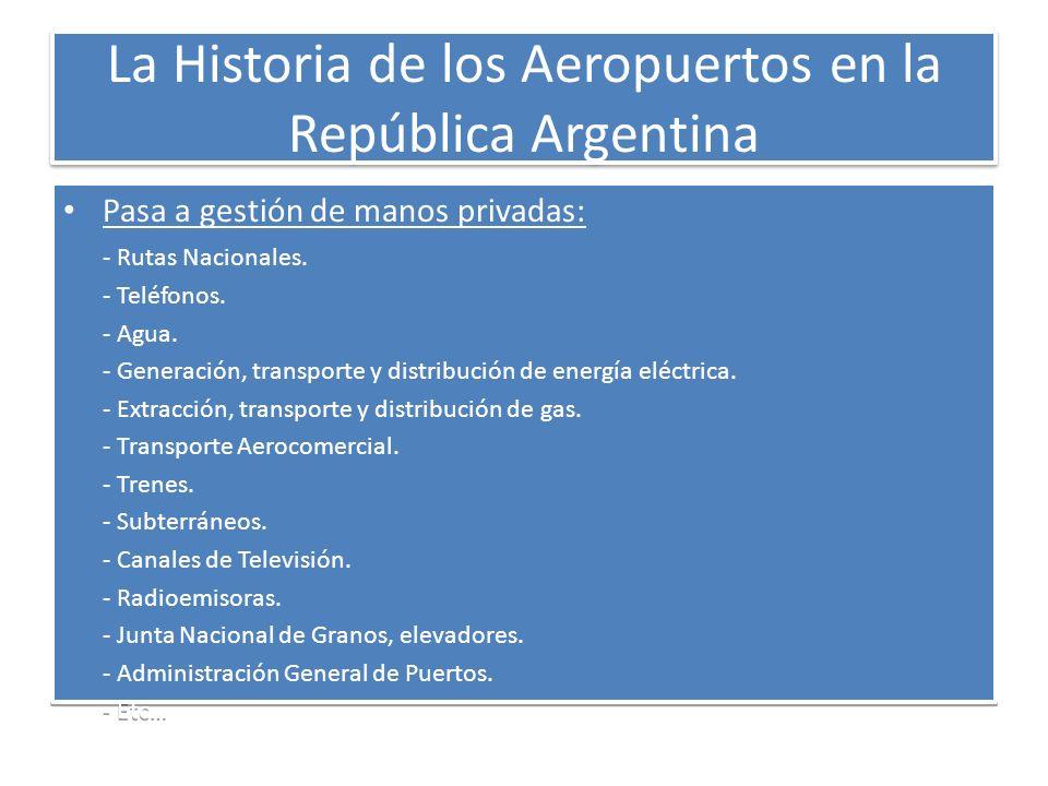La Historia de los Aeropuertos en la República Argentina Pasa a gestión de manos privadas: - Rutas Nacionales. - Teléfonos. - Agua. - Generación, tran
