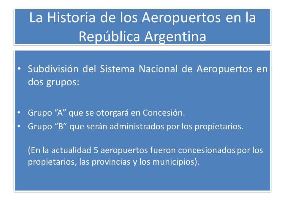 La Historia de los Aeropuertos en la República Argentina Subdivisión del Sistema Nacional de Aeropuertos en dos grupos: Grupo A que se otorgará en Con