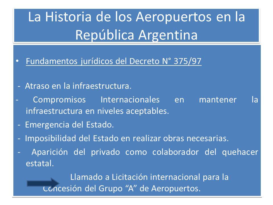 La Historia de los Aeropuertos en la República Argentina Fundamentos jurídicos del Decreto N° 375/97 - Atraso en la infraestructura. - Compromisos Int