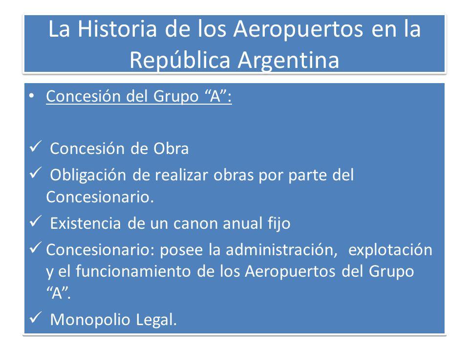 La Historia de los Aeropuertos en la República Argentina Concesión del Grupo A: Concesión de Obra Obligación de realizar obras por parte del Concesion