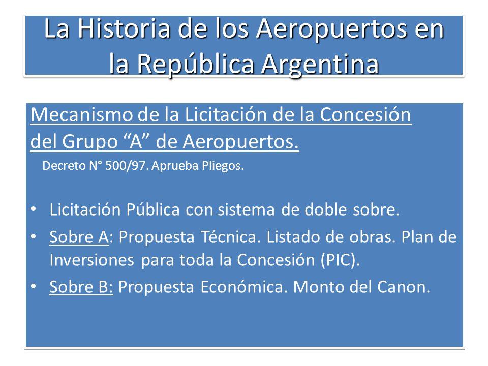La Historia de los Aeropuertos en la República Argentina Mecanismo de la Licitación de la Concesión del Grupo A de Aeropuertos. Decreto N° 500/97. Apr