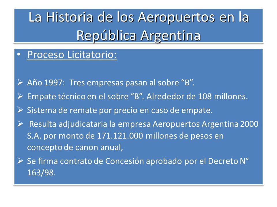 La Historia de los Aeropuertos en la República Argentina Proceso Licitatorio: Año 1997: Tres empresas pasan al sobre B. Empate técnico en el sobre B.