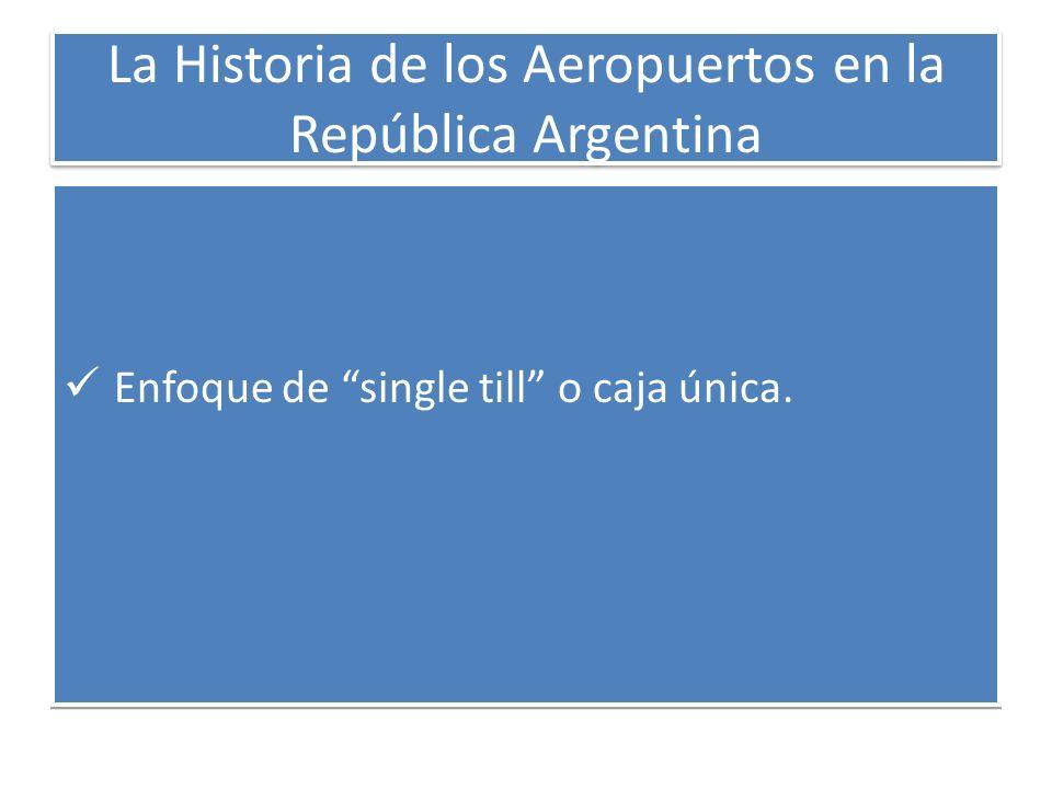 La Historia de los Aeropuertos en la República Argentina Enfoque de single till o caja única.