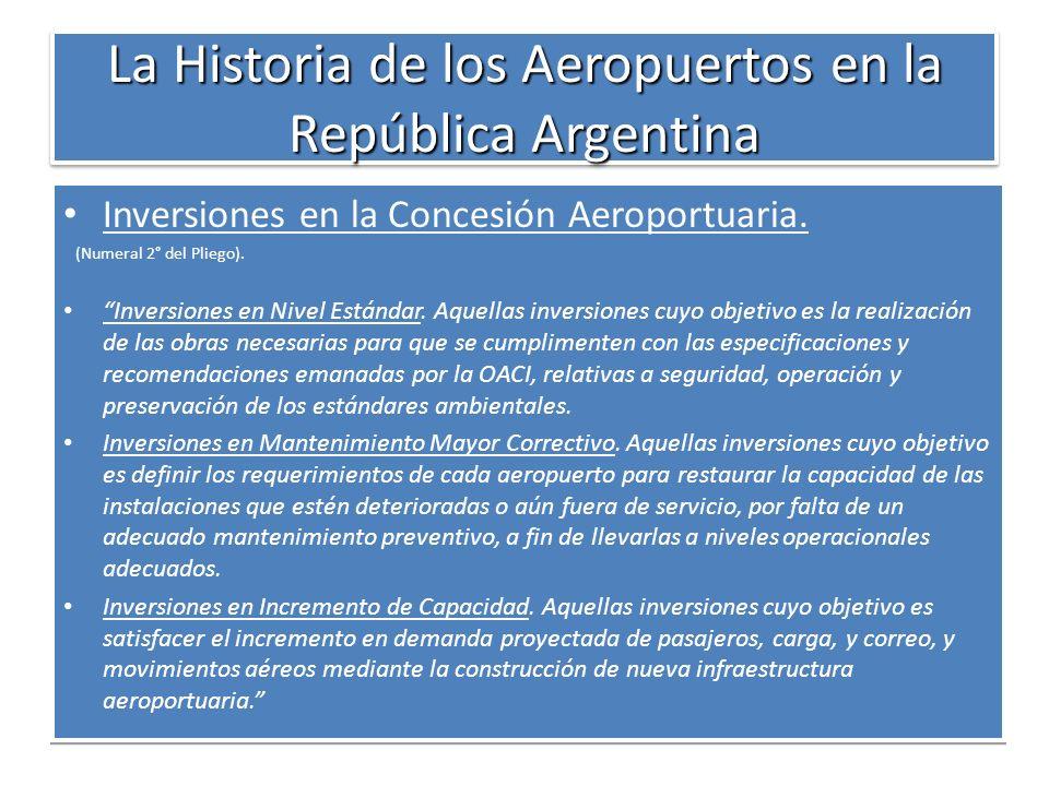 La Historia de los Aeropuertos en la República Argentina Inversiones en la Concesión Aeroportuaria. (Numeral 2° del Pliego). Inversiones en Nivel Está