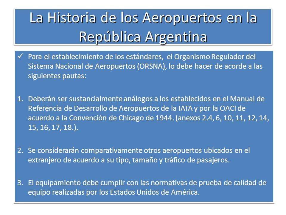 La Historia de los Aeropuertos en la República Argentina Para el establecimiento de los estándares, el Organismo Regulador del Sistema Nacional de Aer