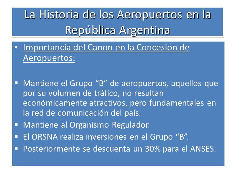 La Historia de los Aeropuertos en la República Argentina Importancia del Canon en la Concesión de Aeropuertos: Mantiene el Grupo B de aeropuertos, aqu