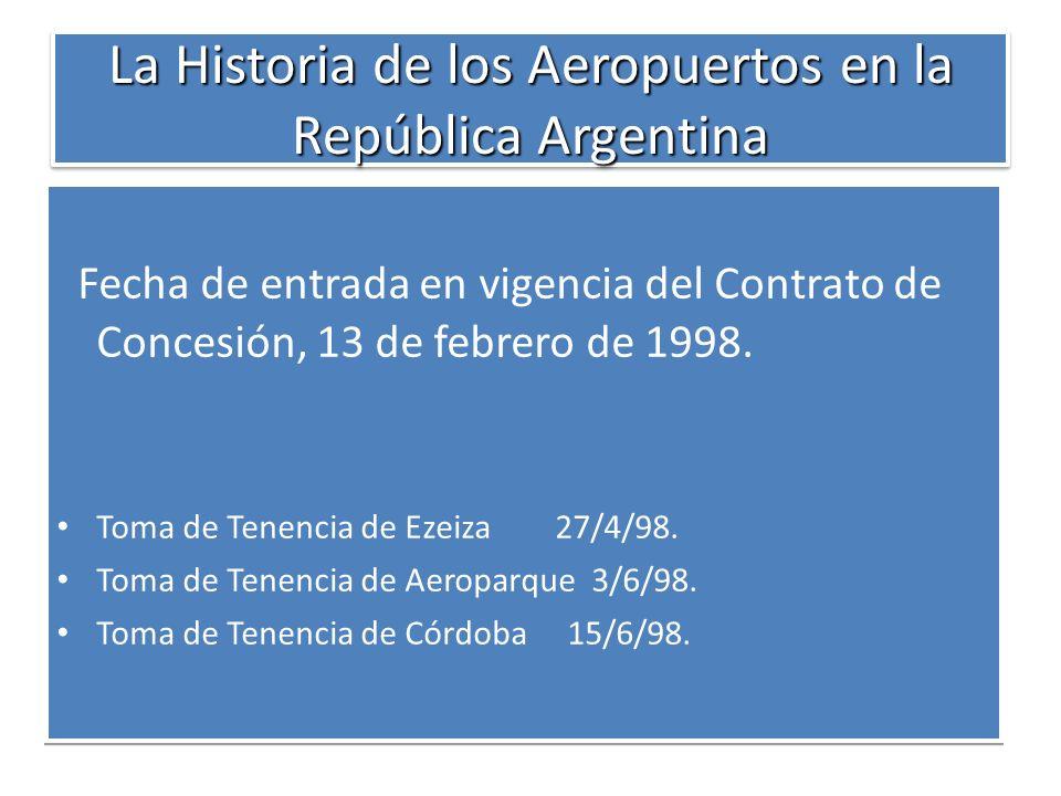La Historia de los Aeropuertos en la República Argentina Fecha de entrada en vigencia del Contrato de Concesión, 13 de febrero de 1998. Toma de Tenenc