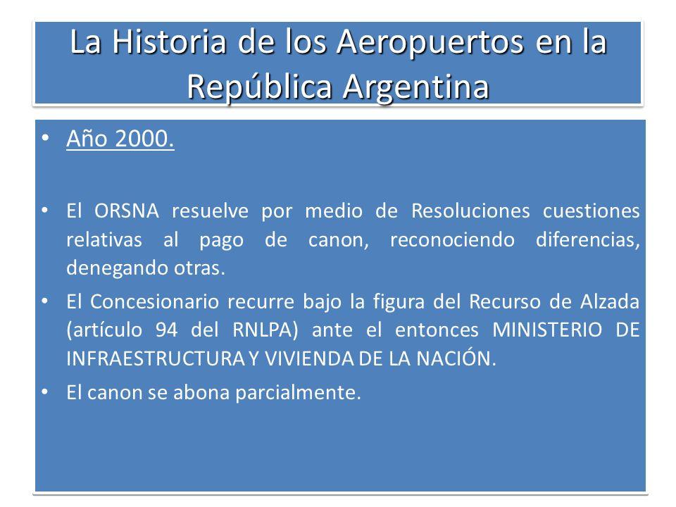 La Historia de los Aeropuertos en la República Argentina Año 2000. El ORSNA resuelve por medio de Resoluciones cuestiones relativas al pago de canon,