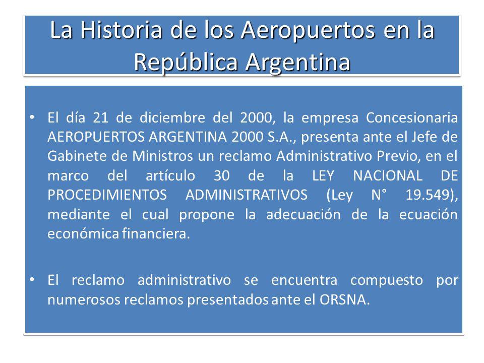 La Historia de los Aeropuertos en la República Argentina El día 21 de diciembre del 2000, la empresa Concesionaria AEROPUERTOS ARGENTINA 2000 S.A., pr