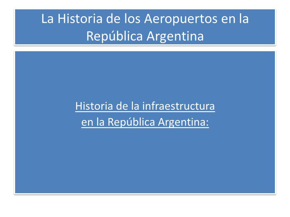 La Historia de los Aeropuertos en la República Argentina Requisitos de canon e inversiones Inversiones No Económicas Bajas Altas Bajo (<0) Alto Canon Trenes de Pasajeros Electricidad Gas Rutas (post 91) Hidrovías Agua Telecomunicaciones Correo Aeropuertos Trenes de Carga Rutas (pre 91)