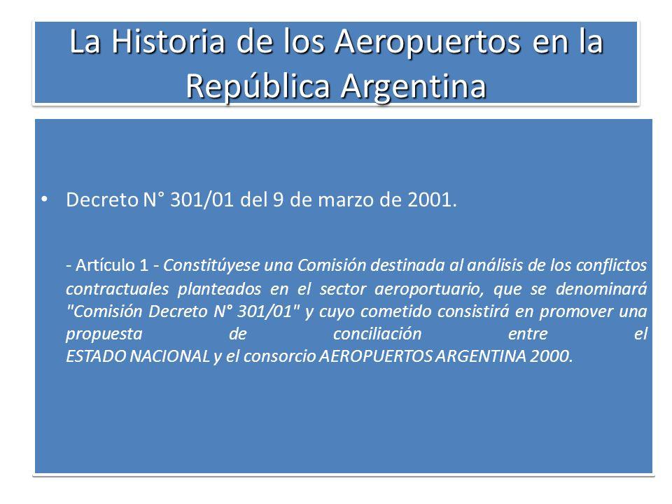 La Historia de los Aeropuertos en la República Argentina Decreto N° 301/01 del 9 de marzo de 2001. - Artículo 1 - Constitúyese una Comisión destinada