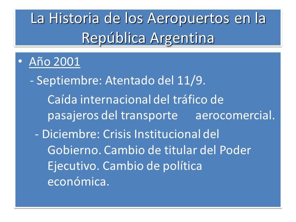 La Historia de los Aeropuertos en la República Argentina Año 2001 - Septiembre: Atentado del 11/9. Caída internacional del tráfico de pasajeros del tr