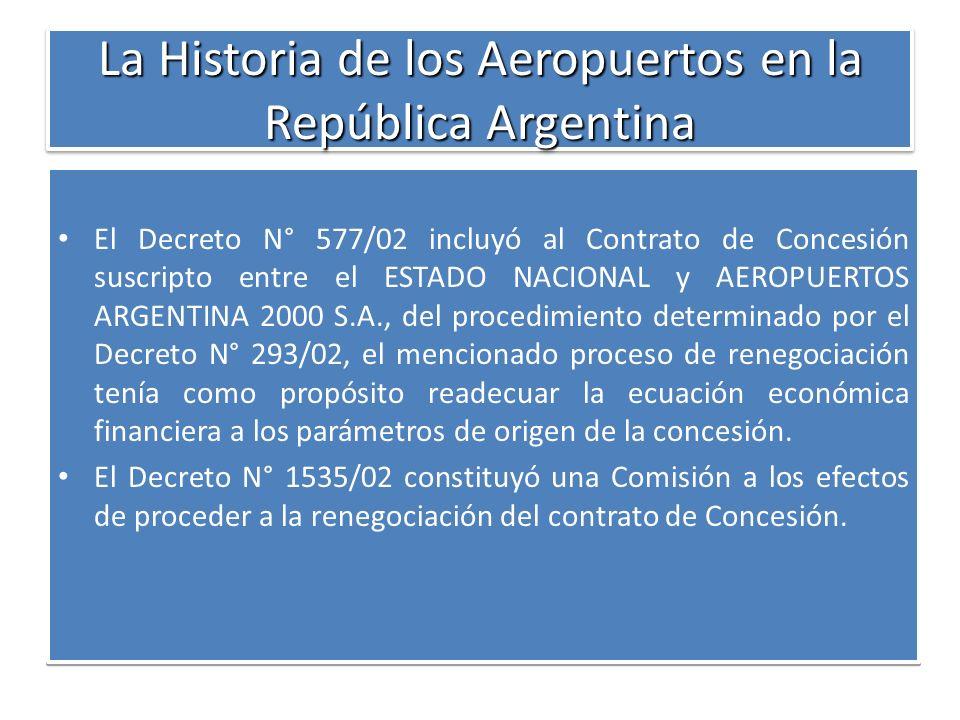 La Historia de los Aeropuertos en la República Argentina El Decreto N° 577/02 incluyó al Contrato de Concesión suscripto entre el ESTADO NACIONAL y AE