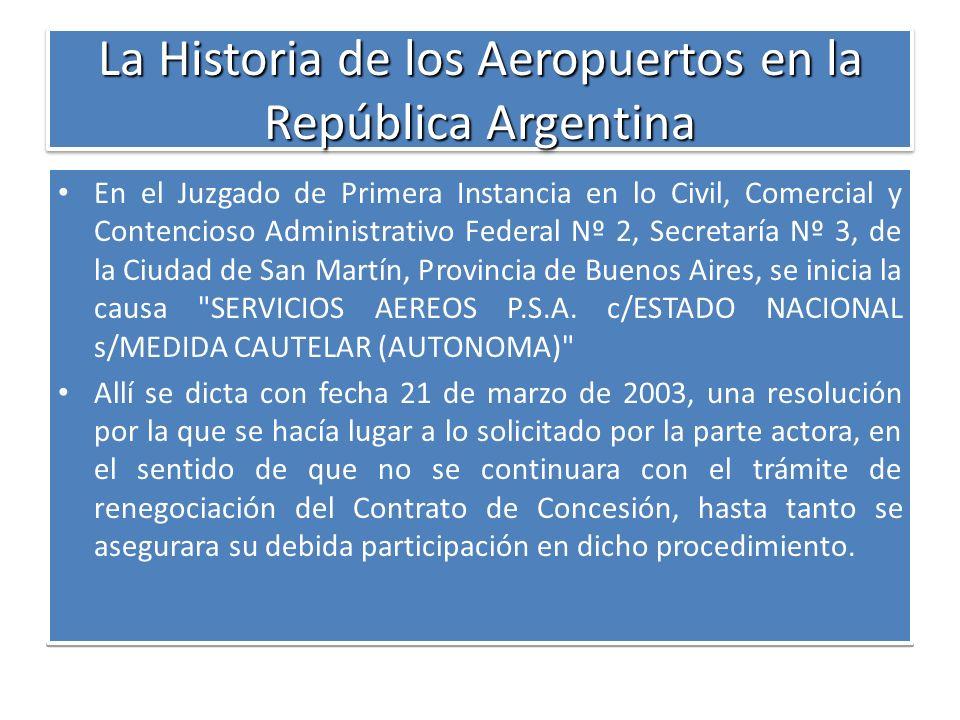 La Historia de los Aeropuertos en la República Argentina En el Juzgado de Primera Instancia en lo Civil, Comercial y Contencioso Administrativo Federa