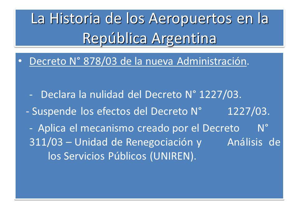La Historia de los Aeropuertos en la República Argentina Decreto N° 878/03 de la nueva Administración. - Declara la nulidad del Decreto N° 1227/03. -