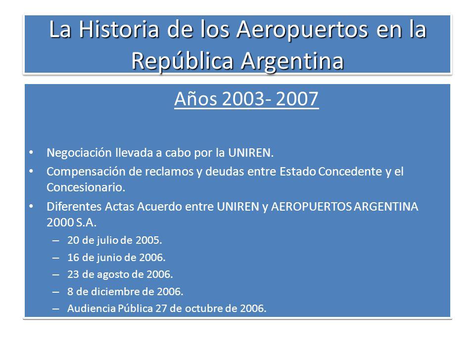 La Historia de los Aeropuertos en la República Argentina Años 2003- 2007 Negociación llevada a cabo por la UNIREN. Compensación de reclamos y deudas e