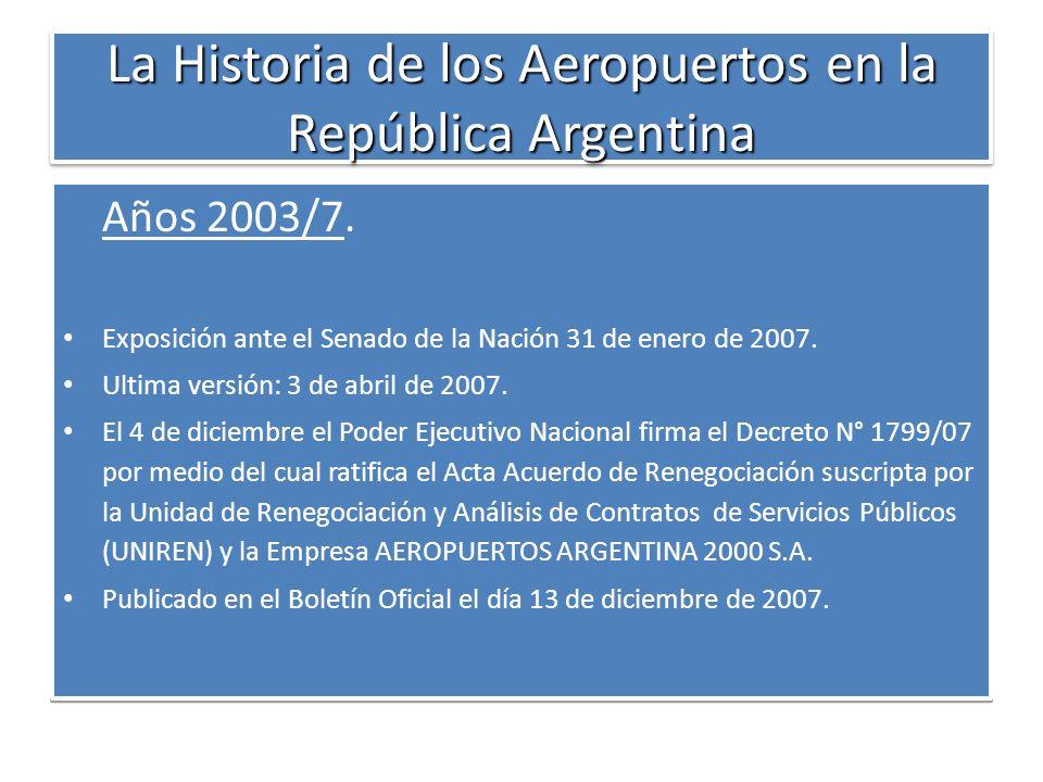 La Historia de los Aeropuertos en la República Argentina Años 2003/7. Exposición ante el Senado de la Nación 31 de enero de 2007. Ultima versión: 3 de