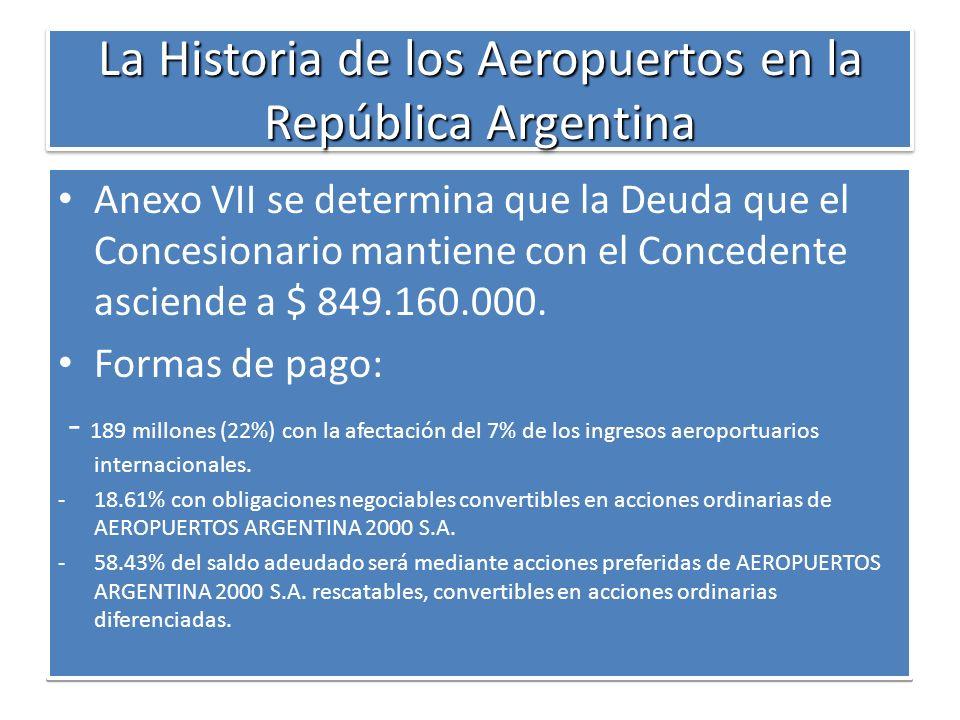 La Historia de los Aeropuertos en la República Argentina Anexo VII se determina que la Deuda que el Concesionario mantiene con el Concedente asciende