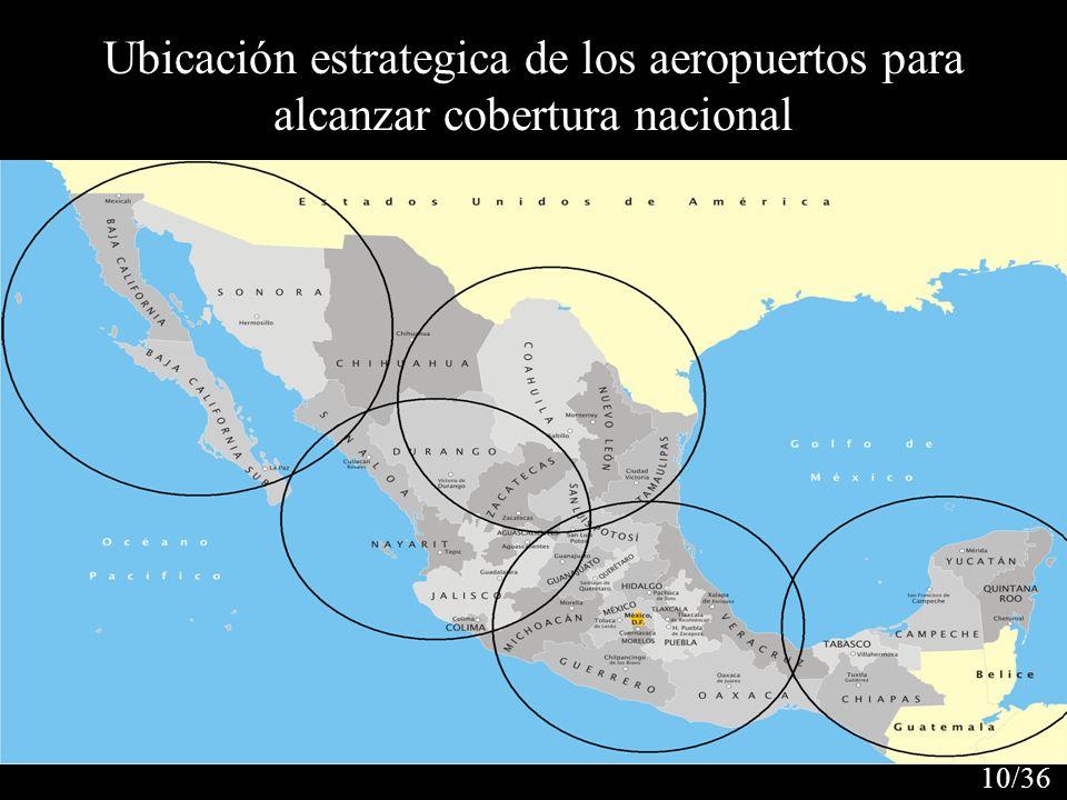 Ubicación estrategica de los aeropuertos para alcanzar cobertura nacional 10/36