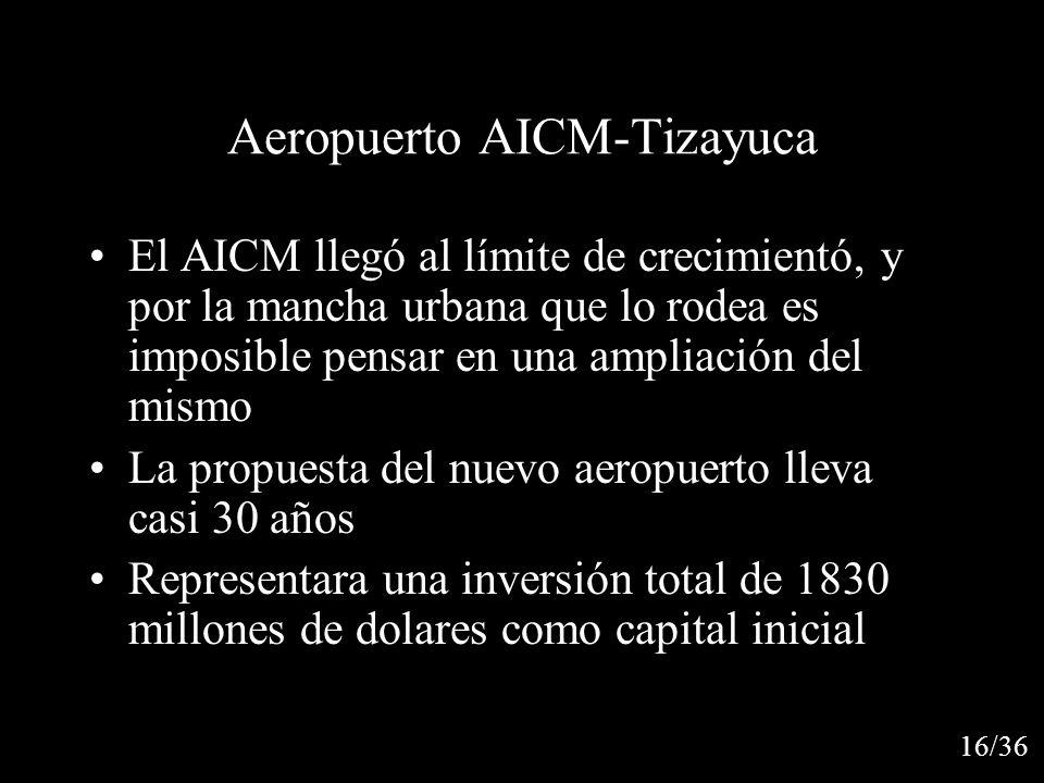 Aeropuerto AICM-Tizayuca El AICM llegó al límite de crecimientó, y por la mancha urbana que lo rodea es imposible pensar en una ampliación del mismo La propuesta del nuevo aeropuerto lleva casi 30 años Representara una inversión total de 1830 millones de dolares como capital inicial 16/36