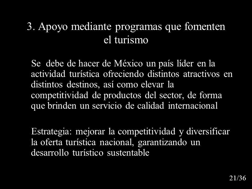 3. Apoyo mediante programas que fomenten el turismo Se debe de hacer de México un país líder en la actividad turística ofreciendo distintos atractivos
