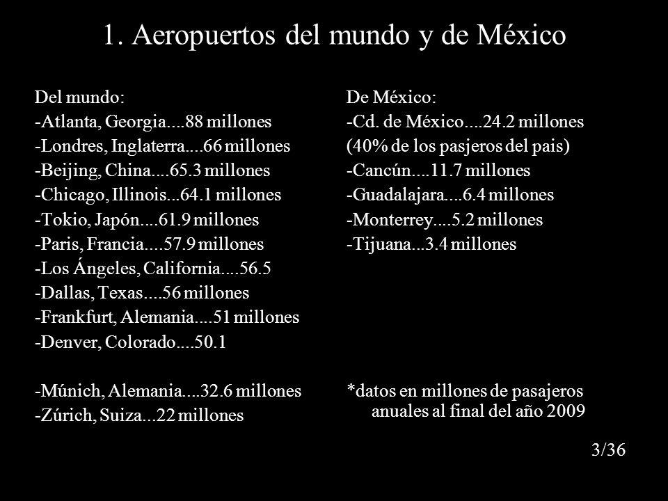 1. Aeropuertos del mundo y de México Del mundo: -Atlanta, Georgia....88 millones -Londres, Inglaterra....66 millones -Beijing, China....65.3 millones