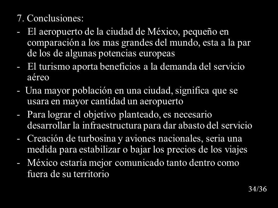 7. Conclusiones: - El aeropuerto de la ciudad de México, pequeño en comparación a los mas grandes del mundo, esta a la par de los de algunas potencias