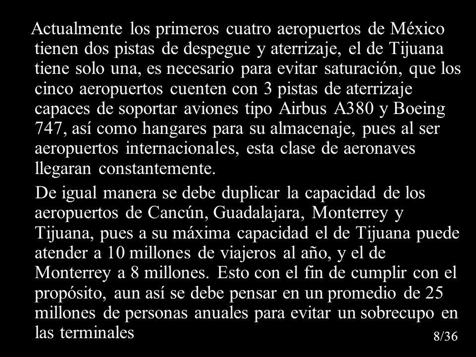 Actualmente los primeros cuatro aeropuertos de México tienen dos pistas de despegue y aterrizaje, el de Tijuana tiene solo una, es necesario para evitar saturación, que los cinco aeropuertos cuenten con 3 pistas de aterrizaje capaces de soportar aviones tipo Airbus A380 y Boeing 747, así como hangares para su almacenaje, pues al ser aeropuertos internacionales, esta clase de aeronaves llegaran constantemente.