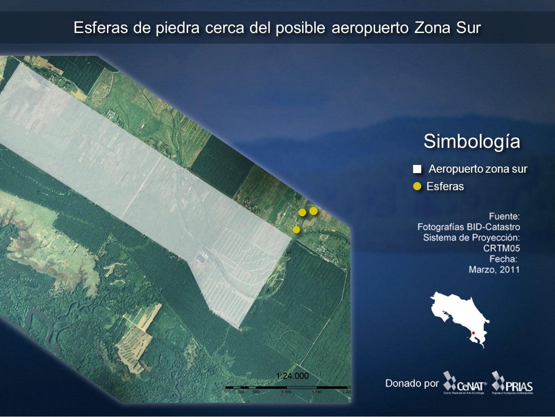 Esferas de piedra cerca del posible aeropuerto Zona Sur Simbología Esferas Aeropuerto zona sur