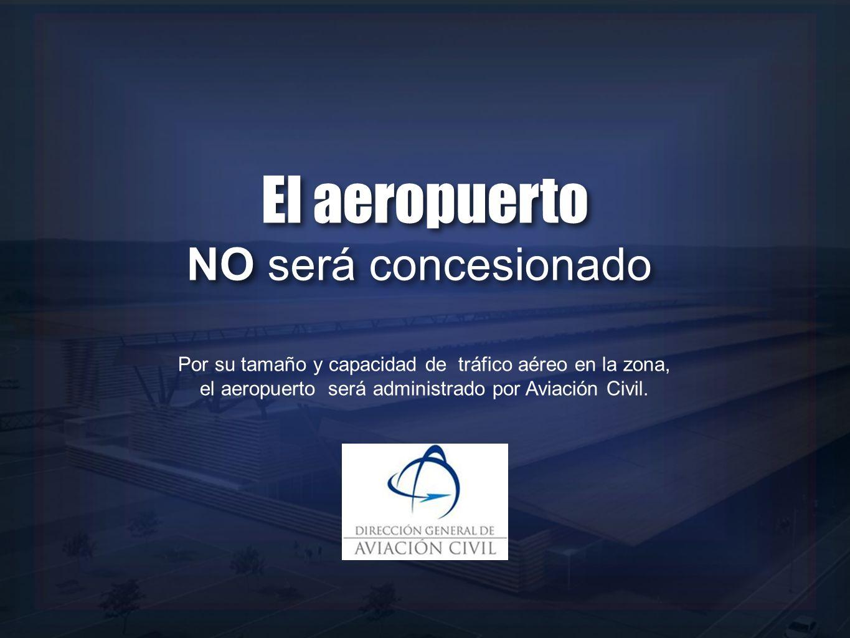 Por su tamaño y capacidad de tráfico aéreo en la zona, el aeropuerto será administrado por Aviación Civil. El aeropuerto NO será concesionado El aerop