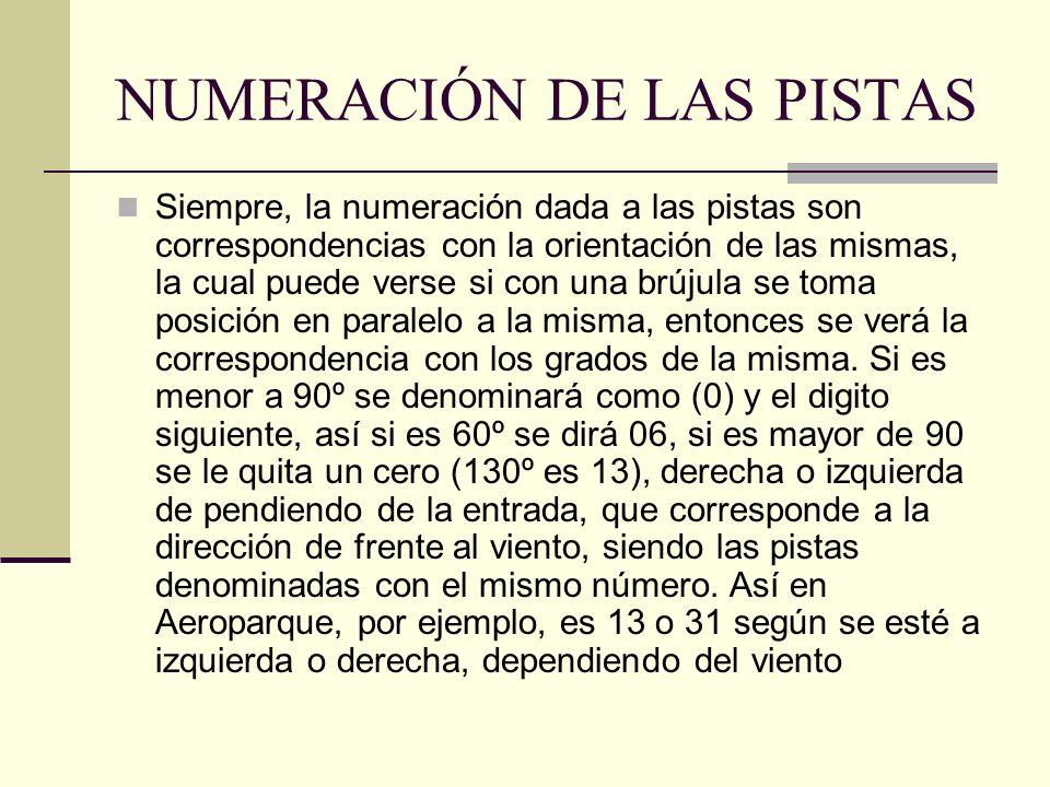 NUMERACIÓN DE LAS PISTAS Siempre, la numeración dada a las pistas son correspondencias con la orientación de las mismas, la cual puede verse si con un