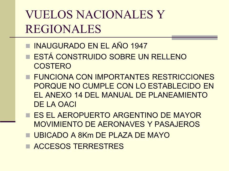 VUELOS NACIONALES Y REGIONALES INAUGURADO EN EL AÑO 1947 ESTÁ CONSTRUIDO SOBRE UN RELLENO COSTERO FUNCIONA CON IMPORTANTES RESTRICCIONES PORQUE NO CUM