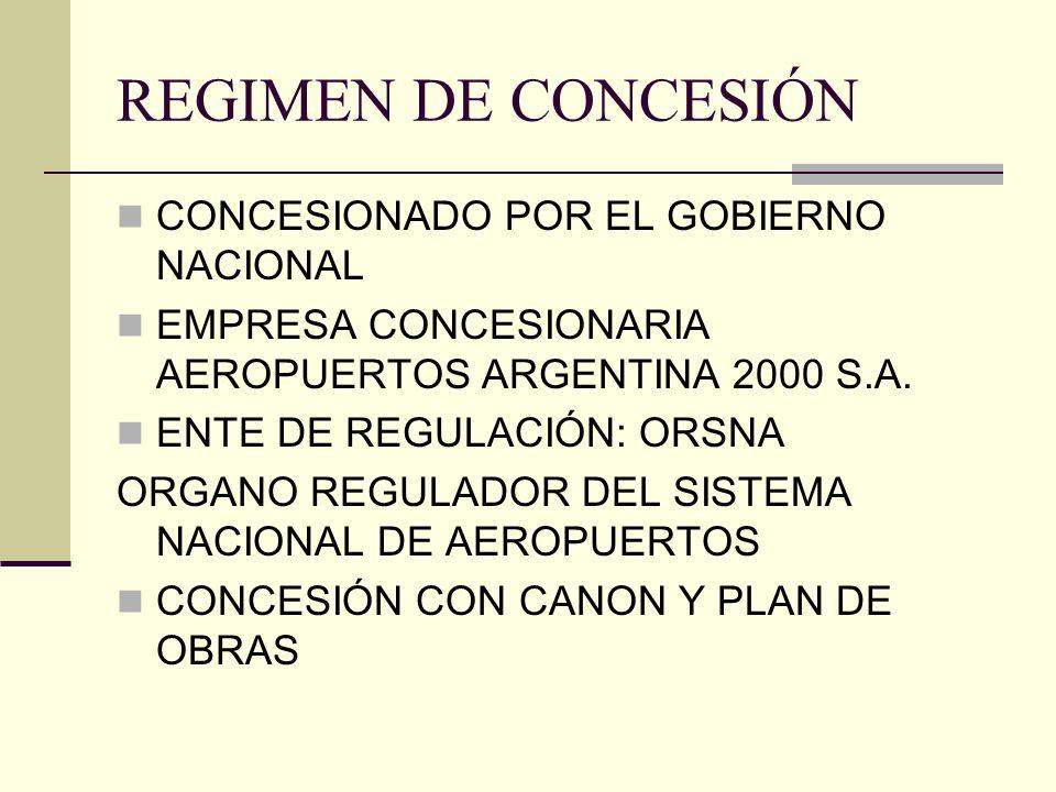 REGIMEN DE CONCESIÓN CONCESIONADO POR EL GOBIERNO NACIONAL EMPRESA CONCESIONARIA AEROPUERTOS ARGENTINA 2000 S.A. ENTE DE REGULACIÓN: ORSNA ORGANO REGU