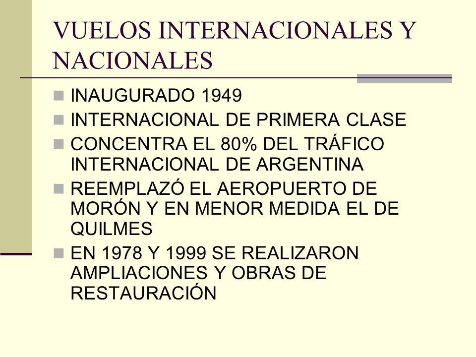 VUELOS INTERNACIONALES Y NACIONALES INAUGURADO 1949 INTERNACIONAL DE PRIMERA CLASE CONCENTRA EL 80% DEL TRÁFICO INTERNACIONAL DE ARGENTINA REEMPLAZÓ E