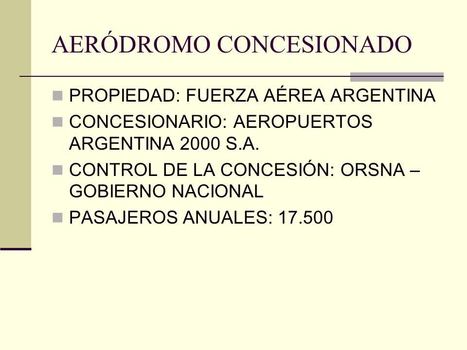 AERÓDROMO CONCESIONADO PROPIEDAD: FUERZA AÉREA ARGENTINA CONCESIONARIO: AEROPUERTOS ARGENTINA 2000 S.A. CONTROL DE LA CONCESIÓN: ORSNA – GOBIERNO NACI