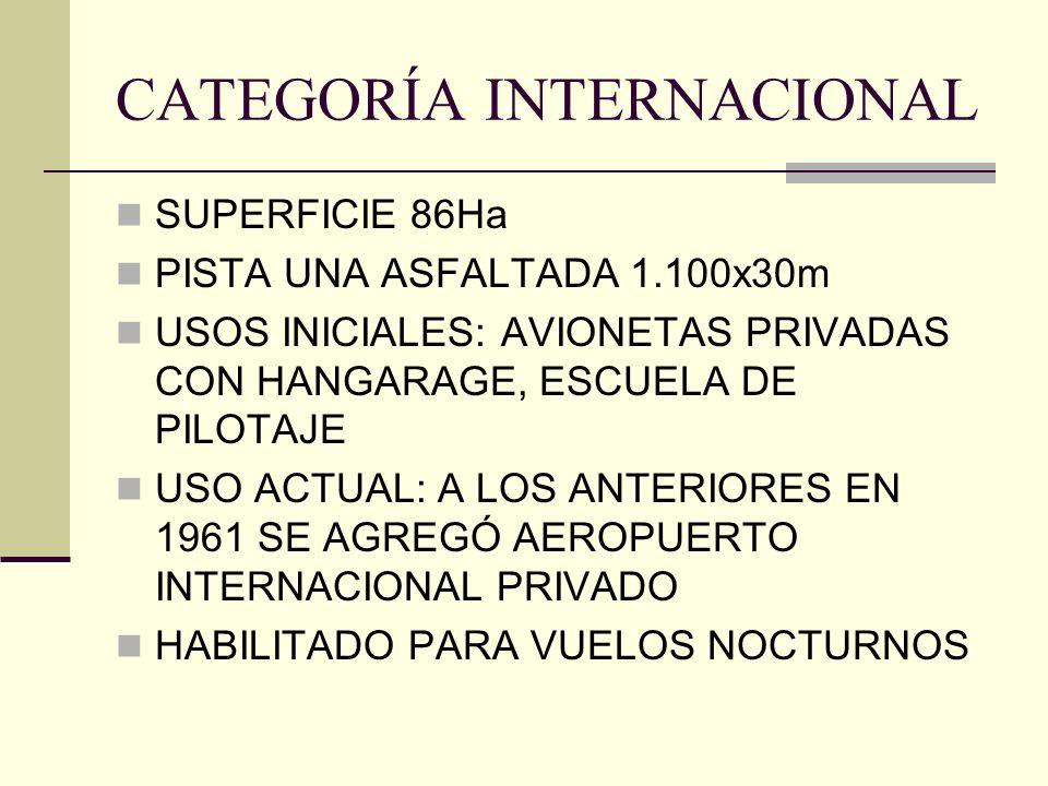 CATEGORÍA INTERNACIONAL SUPERFICIE 86Ha PISTA UNA ASFALTADA 1.100x30m USOS INICIALES: AVIONETAS PRIVADAS CON HANGARAGE, ESCUELA DE PILOTAJE USO ACTUAL