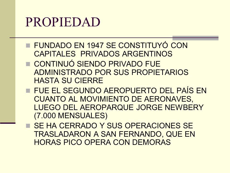 PROPIEDAD FUNDADO EN 1947 SE CONSTITUYÓ CON CAPITALES PRIVADOS ARGENTINOS CONTINUÓ SIENDO PRIVADO FUE ADMINISTRADO POR SUS PROPIETARIOS HASTA SU CIERR