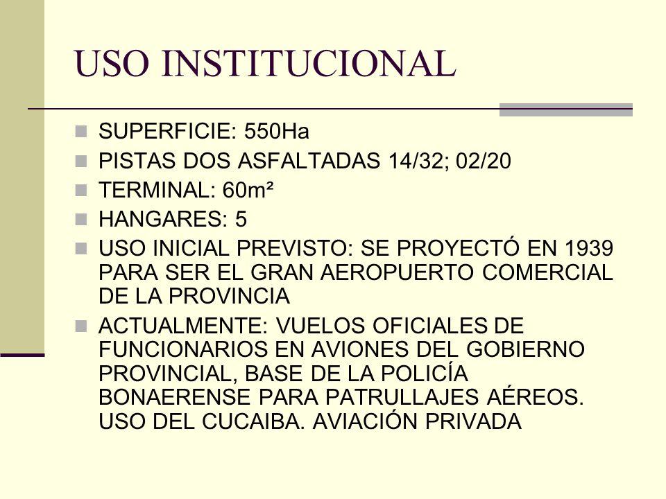 USO INSTITUCIONAL SUPERFICIE: 550Ha PISTAS DOS ASFALTADAS 14/32; 02/20 TERMINAL: 60m² HANGARES: 5 USO INICIAL PREVISTO: SE PROYECTÓ EN 1939 PARA SER E
