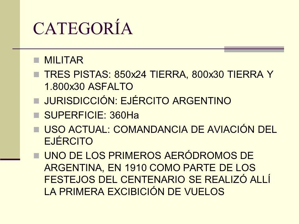 CATEGORÍA MILITAR TRES PISTAS: 850x24 TIERRA, 800x30 TIERRA Y 1.800x30 ASFALTO JURISDICCIÓN: EJÉRCITO ARGENTINO SUPERFICIE: 360Ha USO ACTUAL: COMANDAN