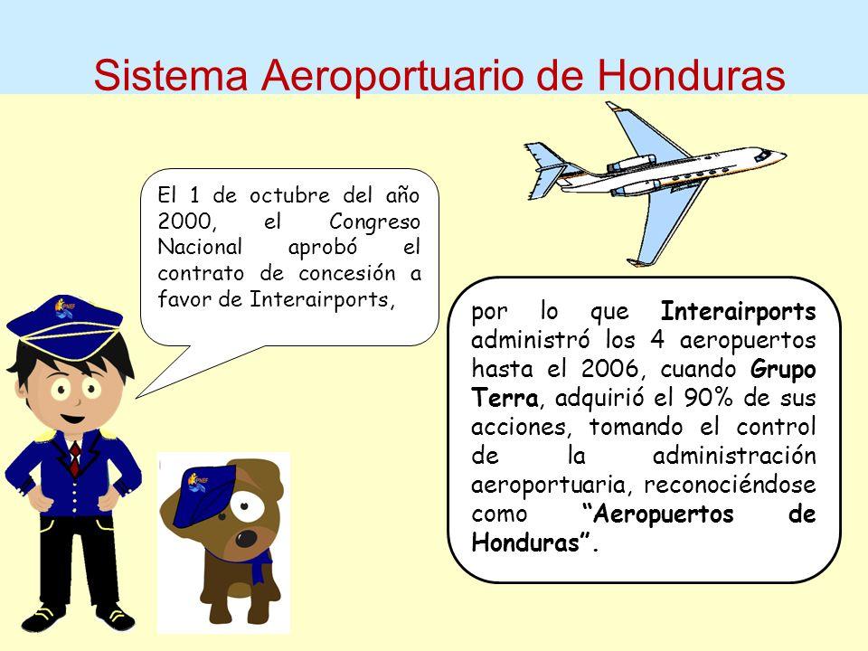 Sistema Aeroportuario de Honduras El 1 de octubre del año 2000, el Congreso Nacional aprobó el contrato de concesión a favor de Interairports, por lo que Interairports administró los 4 aeropuertos hasta el 2006, cuando Grupo Terra, adquirió el 90% de sus acciones, tomando el control de la administración aeroportuaria, reconociéndose como Aeropuertos de Honduras.