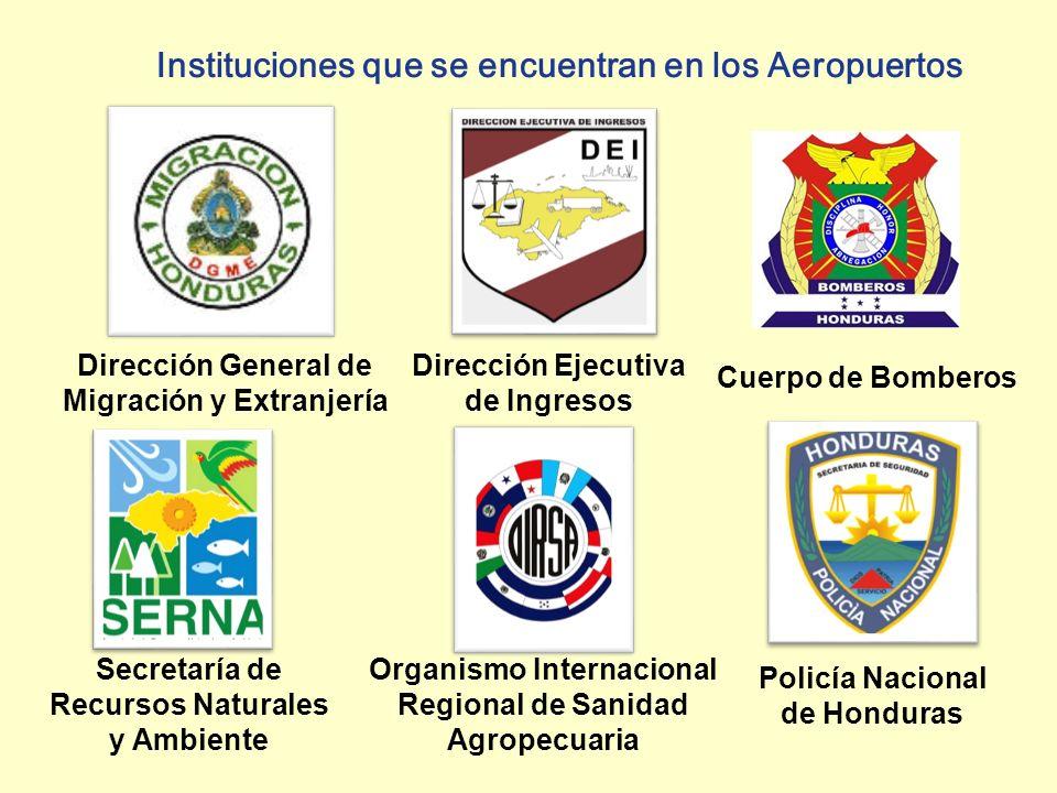 Dirección Ejecutiva de Ingresos Dirección General de Migración y Extranjería Instituciones que se encuentran en los Aeropuertos Secretaría de Recursos Naturales y Ambiente Organismo Internacional Regional de Sanidad Agropecuaria Policía Nacional de Honduras Cuerpo de Bomberos