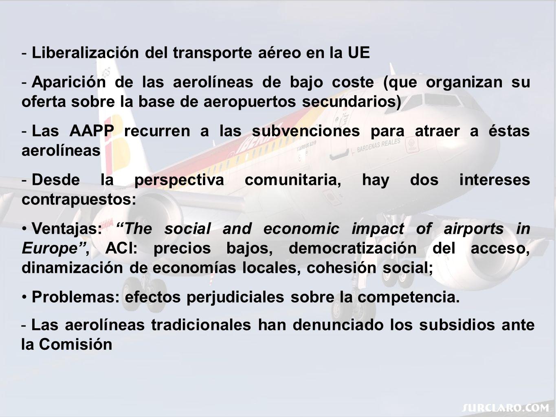 Decisión 2004/393/CE (…) Criterios respecto a las ayudas destinadas a las start-up: La Comisión acepta los intereses de las regiones y no se opone a estas ayudas: Las ayudas son necesarias para la apertura de nuevas rutas o aumentar la frecuencia aérea; Beneficia el desarrollo de los aeropuertos regionales; Beneficia el desarrollo de las regiones y la cohesión social.