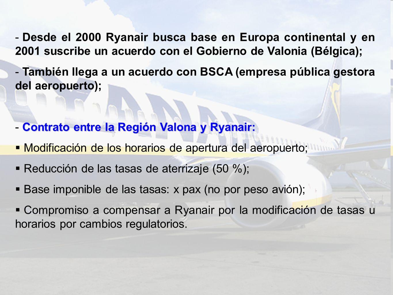 - Desde el 2000 Ryanair busca base en Europa continental y en 2001 suscribe un acuerdo con el Gobierno de Valonia (Bélgica); - También llega a un acuerdo con BSCA (empresa pública gestora del aeropuerto); Contrato entre la Región Valona y Ryanair - Contrato entre la Región Valona y Ryanair: Modificación de los horarios de apertura del aeropuerto; Reducción de las tasas de aterrizaje (50 %); Base imponible de las tasas: x pax (no por peso avión); Compromiso a compensar a Ryanair por la modificación de tasas u horarios por cambios regulatorios.