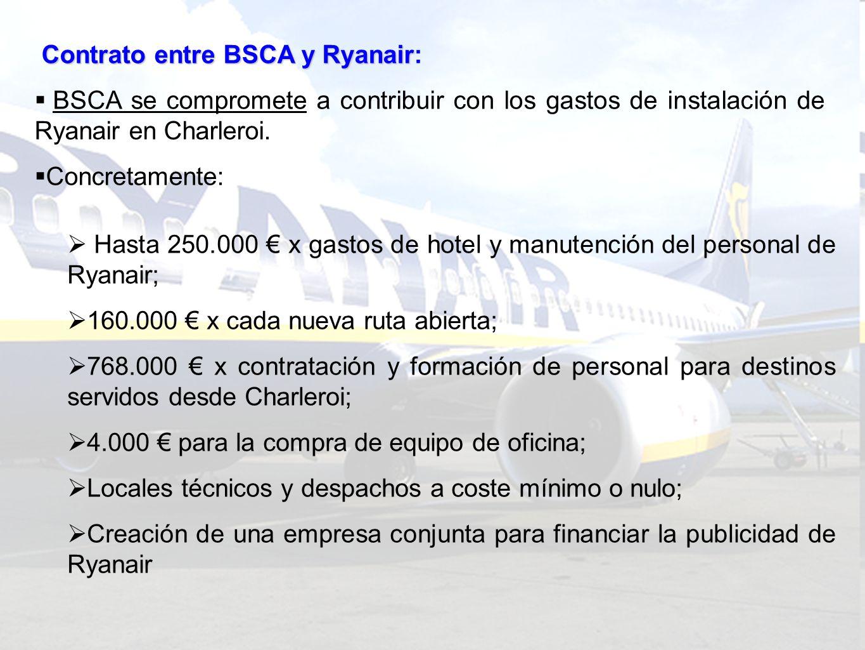 Contrato entre BSCA y Ryanair Contrato entre BSCA y Ryanair (…) Ryanair se compromete a: Utilizar Charleroi como base para 2-4 aviones Hacer tres rotaciones por día x por avión; Permanecer en Charleroi durante 15 años; Devolver todo (o parte) de las ayudas si se retira del aeropuerto.